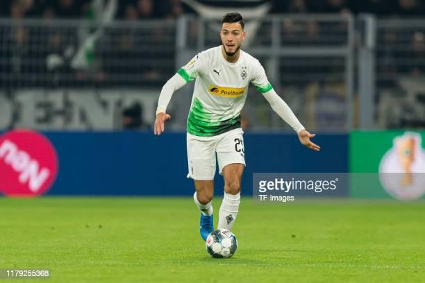 Rami Bensebaini of Borussia Moenchengladbach controls the ball during the DFB Cup second round match between Borussia Dortmund and Borussia...