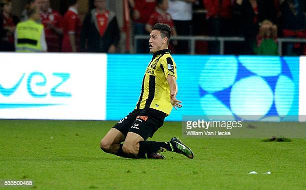 Rami Bensebaini of Lierse SK celebrates pictured during the Jupiler Pro league match between Standard de Liege and KSK Lierse at Maurice Dufrasne...