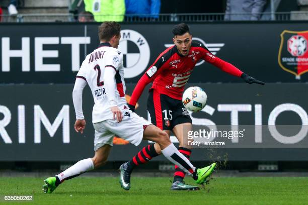 Rami Bensebaini of Rennes and Arnaud Souquet of Nice during the Ligue 1 match between Stade Rennais and OGC Nice at Roazhon Park on February 12 2017...