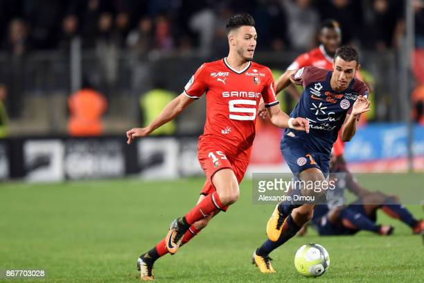 Rami Bensebaini of Rennes and Ellyes Skhiri of Montpellier during the Ligue 1 match between Montpellier Herault SC and Stade Rennais at Stade de la...