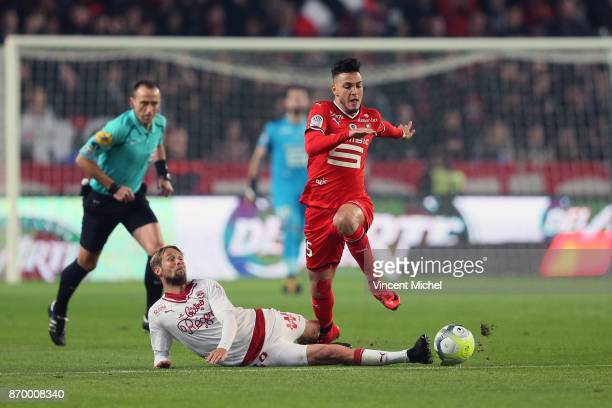Rami Bensebaini of Rennes and Jaroslav Plasil of Bordeaux during the French Ligue 1 match between Rennes and Bordeaux at Roazhon Park on November 3...