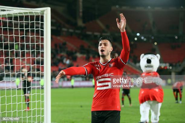 Rami Bensebaini of Rennes celebrates at the end of the match during the Ligue 1 match between Rennes and Angers at Roazhon Park on January 20 2018 in...