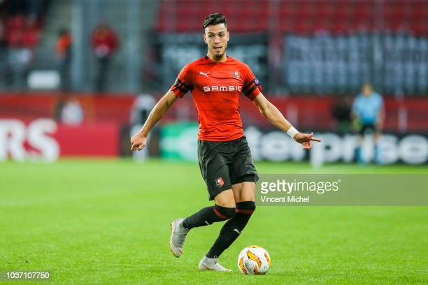 Rami Bensebaini of Rennes during the Europa League match between Rennes and Jablonec at Roazhon Park on September 20 2018 in Rennes France
