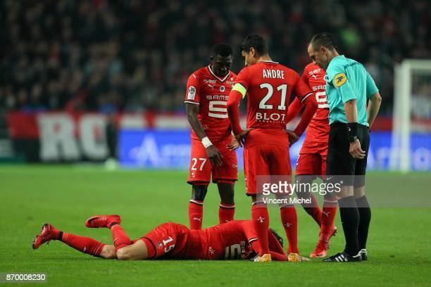 Rami Bensebaini of Rennes during the French Ligue 1 match between Rennes and Bordeaux at Roazhon Park on November 3 2017 in Rennes France