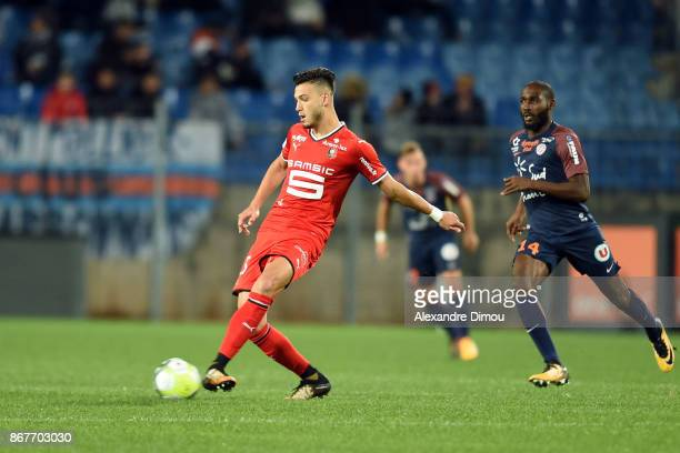 Rami Bensebaini of Rennes during the Ligue 1 match between Montpellier Herault SC and Stade Rennais at Stade de la Mosson on October 28 2017 in...