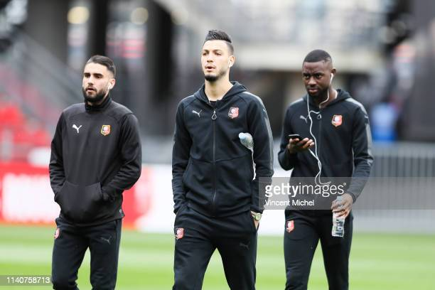 Rami Bensebaini of Rennes during the Ligue 1 match between Rennes and Monaco on May 1 2019 in Rennes France