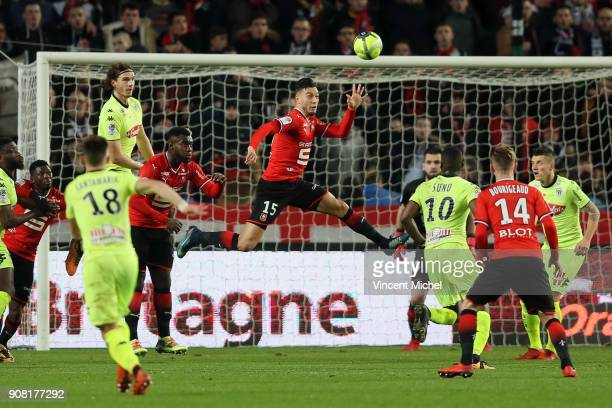 Rami Bensebaini of Rennes during the Ligue 1 match between Rennes and Angers at Roazhon Park on January 20 2018 in Rennes France