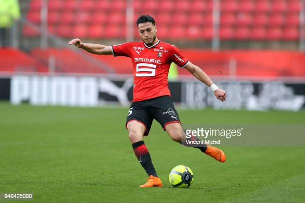 Rami Bensebaini of Rennes during the Ligue 1 match between Rennes and Metz at Roazhon Park on April 14 2018 in Rennes