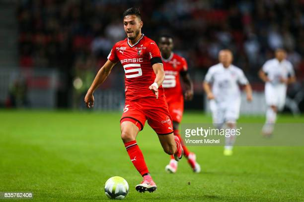 Rami Bensebaini of Rennes during the Ligue 1 match between Stade Rennais and Dijon FCO at Roazhon Park on August 19 2017 in Rennes
