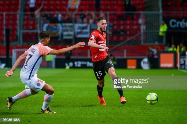 Rami Bensebaini of Rennes during the Ligue 1 match between Stade Rennes and Montpellier Herault SC at Roazhon Park on May 19 2018 in Rennes