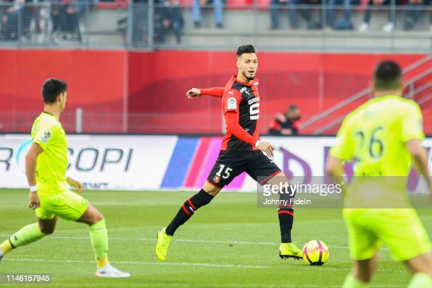 Rami Bensebaini of Rennes during the Ligue 1 match between Stade Rennais football club and LOSC Lille Association on May 24 2019 in Rennes France