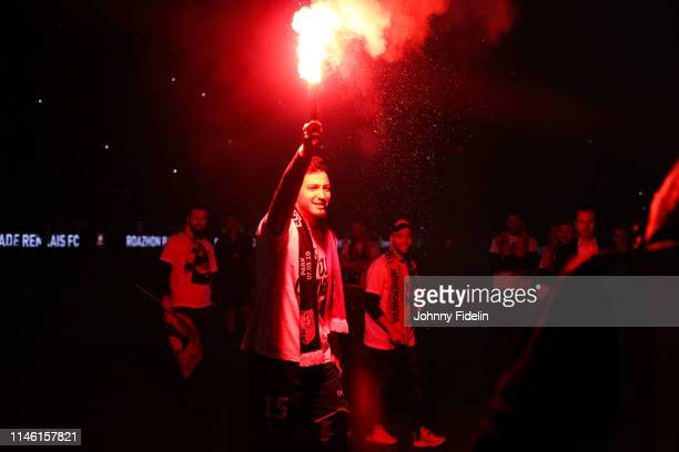 Rami Bensebaini of Rennes with the light fire during the Ligue 1 match between Stade Rennais football club and LOSC Lille Association on May 24 2019...