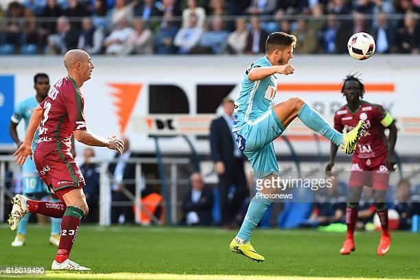 Rami Gershon defender of KAA Gent and Christophe Lepoint midfielder of SV Zulte Waregem pictured during the Jupiler Pro League match between KAA Gent...