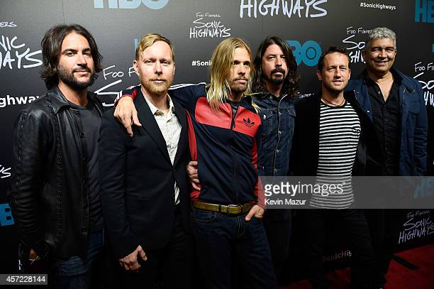"""Rami Jaffe, Nate Mendel, Taylor Hawkins, Dave Grohl, Chris Shiflett and Pat Smear of Foo Fighters attend the premiere of Foo Fighters """"Sonic..."""