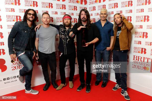 AWARDS 2018*** Rami Jaffee Nate Mendel Chris Shiflett Dave Grohl Pat Smear and Taylor Hawkins of Foo Fighters winner of the Best International Group...