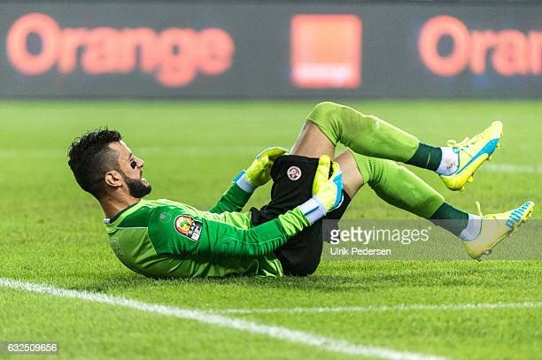Rami Jeridi of Tunisia looks dejected during the African Nations Cup match between Zimbabwe and Tunisia on January 23 2017 in Libreville Gabon