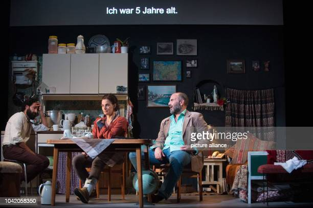 Rami Khalaf Maia Morgenstern and Akillas Karazissis rehearsing a scene from the play 'Empire' at the Schaubuehne theatre in Berlin Germany 7...