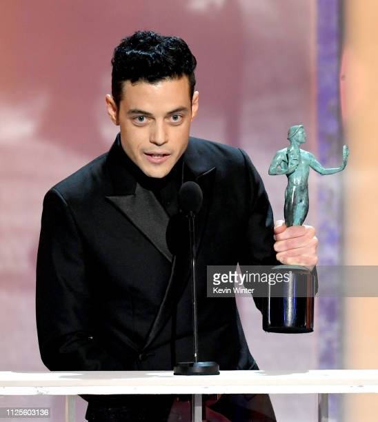 """Rami Malek accepts Outstanding Performance by a Male Actor in a Leading Role for """"Bohemian Rhapsody"""" onstage during the 25th Annual Screen Actors..."""