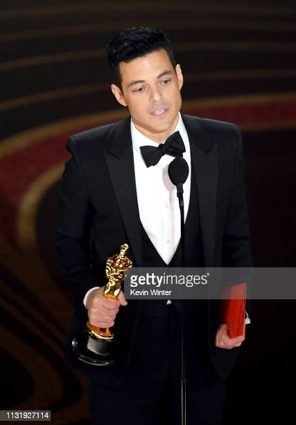Rami Malek accepts the Actor in a Leading Role award for 'Bohemian Rhapsody' onstage during the 91st Annual Academy Awards at Dolby Theatre on...