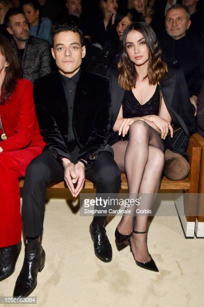 Rami Malek and Ana de Armas attend the Saint Laurent show as part of the Paris Fashion Week Womenswear Fall/Winter 2020/2021 on February 25 2020 in...