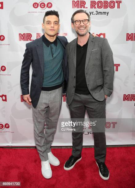 Rami Malek and Christian Slater attend 'Mr Robot' FYC Screening at The Metrograph on June 8 2017 in New York City