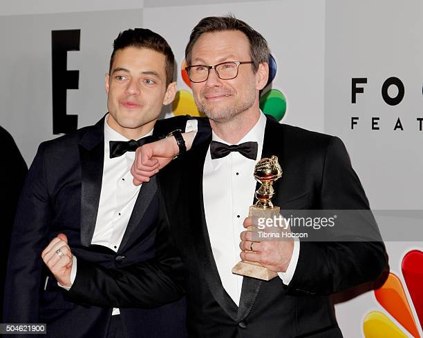 Rami Malek and Christian Slater attend NBCUniversal's 73rd Annual Golden Globes After Party at The Beverly Hilton Hotel on January 10 2016 in Beverly...