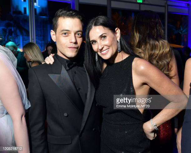 Rami Malek and Demi Moore attend the 2020 Vanity Fair Oscar Party hosted by Radhika Jones at Wallis Annenberg Center for the Performing Arts on...