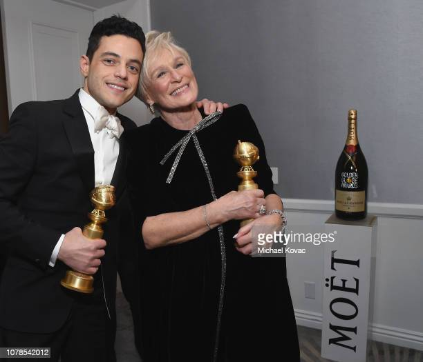 Rami Malek and Glenn Close with awards backstage at Moet Chandon at The 76th Annual Golden Globe Awards at The Beverly Hilton Hotel on January 6 2019...