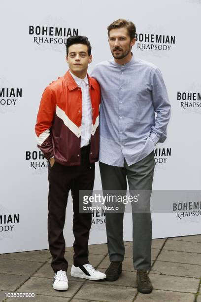 Rami Malek and Gwilym Lee attend a photocall for Bohemian Rhapsody at Hotel De Russie on September 18 2018 in Rome Italy