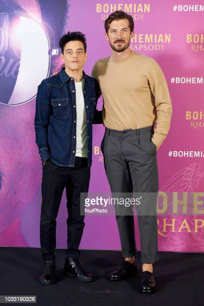 Rami Malek and Gwilym Lee attend the 'Bohemian Rhapsody' movie Photocall at Villamagna Hotel in Madrid on Sep 14 2018