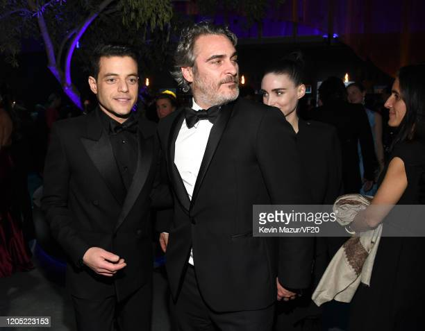Rami Malek and Joaquin Phoenix attend the 2020 Vanity Fair Oscar Party hosted by Radhika Jones at Wallis Annenberg Center for the Performing Arts on...