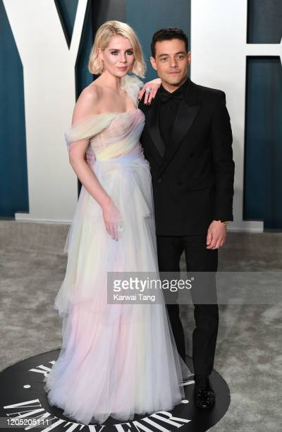 Rami Malek and Lucy Boynton arriving for the 2020 Vanity Fair Oscar Party Hosted By Radhika Jones, at the Wallis Annenberg Center for the Performing...
