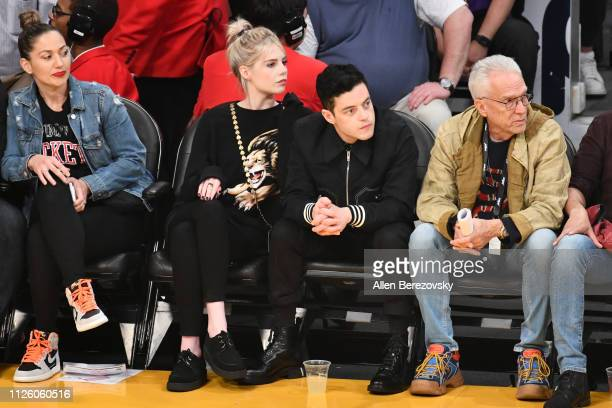 Rami Malek and Lucy Boynton attend a basketball game between the Los Angeles Lakers and the Philadelphia 76ers at Staples Center on January 29 2019...