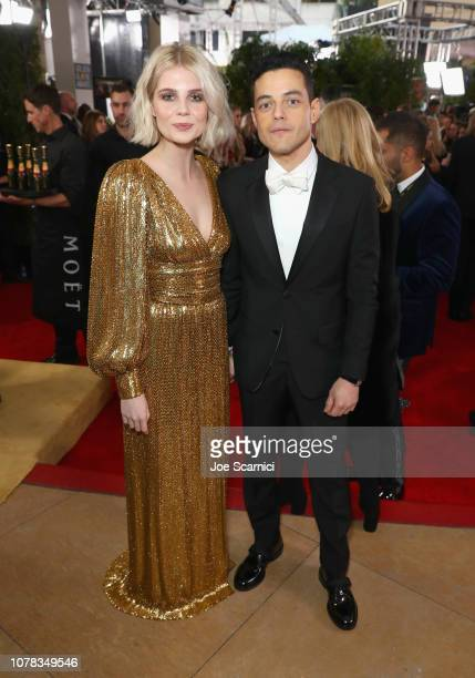 Rami Malek and Lucy Boynton attend Moet & Chandon at The 76th Annual Golden Globe Awards at The Beverly Hilton Hotel on January 6, 2019 in Beverly...