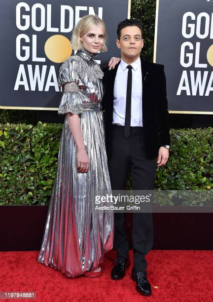 Rami Malek and Lucy Boynton attend the 77th Annual Golden Globe Awards at The Beverly Hilton Hotel on January 05, 2020 in Beverly Hills, California.