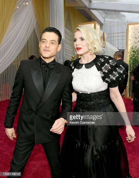 Rami Malek and Lucy Boynton attend the 92nd Annual Academy Awards at Hollywood and Highland on February 09, 2020 in Hollywood, California.