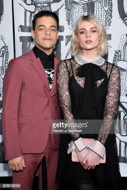 Rami Malek and Lucy Boynton attend the Miu Miu show as part of the Paris Fashion Week Womenswear Fall/Winter 2018/2019 on March 6 2018 in Paris France