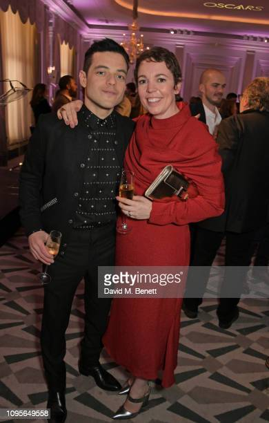 Rami Malek and Olivia Colman attend attends the 91st Academy Awards Champagne Tea Reception at Claridge's Hotel on February 8, 2019 in London,...