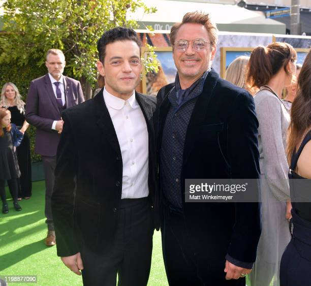 Rami Malek and Robert Downey Jr attend the Premiere of Universal Pictures' Dolittle at Regency Village Theatre on January 11 2020 in Westwood...