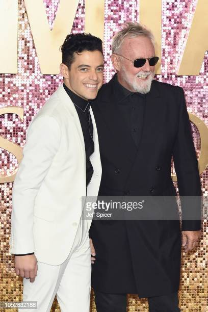 Rami Malek and Roger Taylor attend the World Premiere of 'Bohemian Rhapsody' at SSE Arena Wembley on October 23 2018 in London England