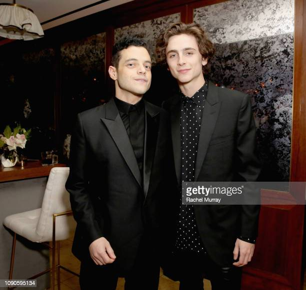 Rami Malek and Timothée Chalamet attend Netflix 2019 SAG Awards after party at Sunset Tower Hotel on January 27 2019 in West Hollywood California
