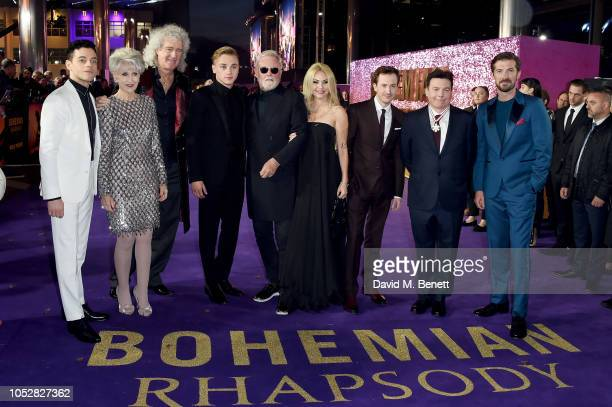 Rami Malek Anita Dobson Brian May Ben Hardy Roger Taylor Sarina Potgieter Joe Mazzello Mike Myers and Gwilym Lee attend the World Premiere of...