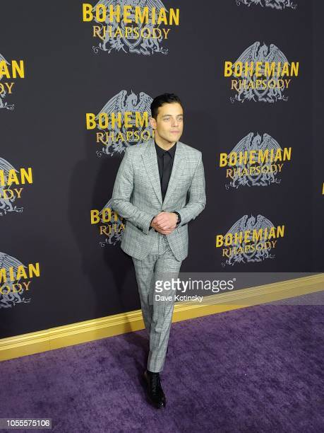 Rami Malek arrives at the red carpet at the premiere for Bohemian Rhapsody on October 28 at The Paris Theatre in New York City at The Paris Theatre...