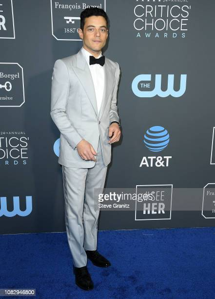 Rami Malek arrives at the The 24th Annual Critics' Choice Awards attends The 24th Annual Critics' Choice Awards at Barker Hangar on January 13 2019...