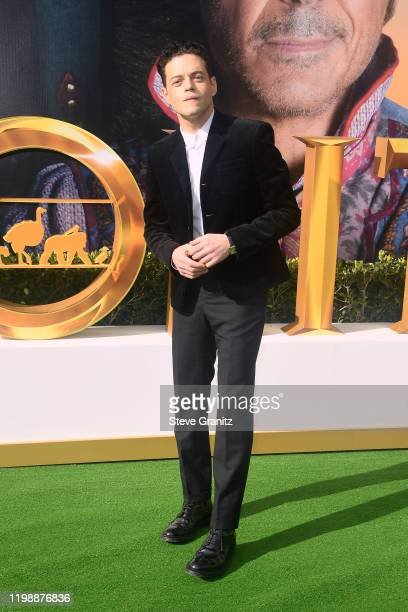"""Rami Malek attends the Premiere of Universal Pictures' """"Dolittle"""" at Regency Village Theatre on January 11, 2020 in Westwood, California."""