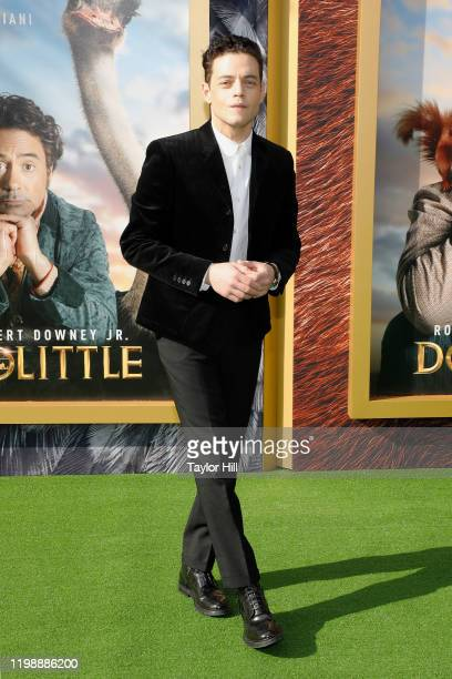 """Rami Malek attends the world premiere of """"Dolittle"""" at Regency Village Theatre on January 11, 2020 in Westwood, California."""