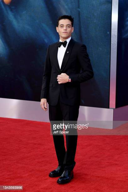 """Rami Malek attends the World Premiere of """"NO TIME TO DIE"""" at the Royal Albert Hall on September 28, 2021 in London, England."""