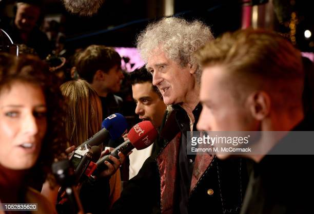 Rami Malek Brian May and Ben Hardy attend the World Premiere of 'Bohemian Rhapsody' at SSE Arena Wembley on October 23 2018 in London England