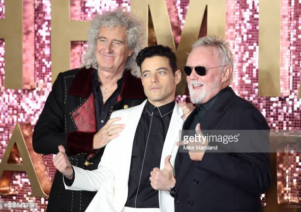 Rami Malek Brian May and Roger Taylor attend the World Premiere of 'Bohemian Rhapsody' at The SSE Arena Wembley on October 23 2018 in London England