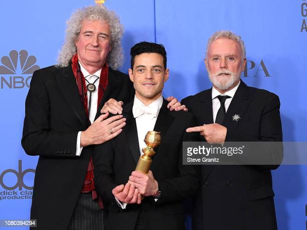 Rami Malek Brian May Roger Taylor poses at the 76th Annual Golden Globe Awards at The Beverly Hilton Hotel on January 6 2019 in Beverly Hills...